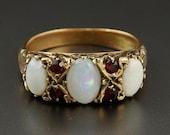 Antique Gold Opal & Garne...