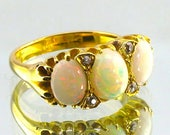 Antique Gold Opal & Diamo...