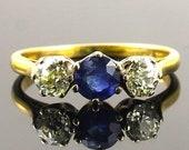 Vintage Gold Sapphire Dia...