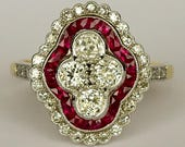 Art Deco Diamond Ruby Rin...