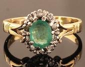Vintage Gold Emerald Diam...