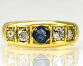 Antique Gold Sapphire Dia...