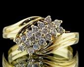 Gold Diamond Cluster Ring...