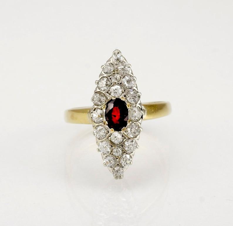 2b7087b3915 Antique or diamant rubis Marquise de bague de fiançailles