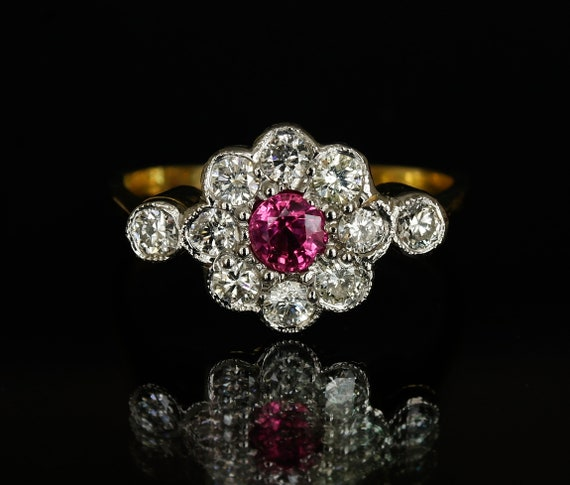 Vintage Pink Sapphire Diamond Engagement Ring Diamond Daisy Cluster Band  size 6 US , M UK jewelry gift for her