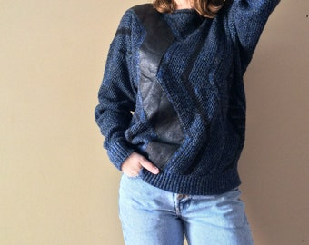 VTG 1980's blue knit and leather sweater