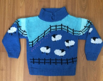 VTG 1970's handmade wool children's sweater