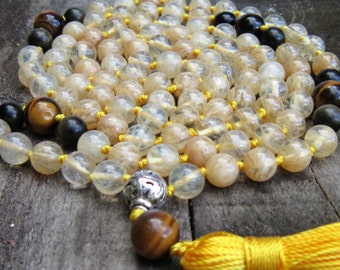 Citrine Mala Necklace Solar Plexus Healing Mala Citrine Meditation Mala Prayer Bead 108 Citrine Hand knotted Mala Necklace Chakra 108 Mala1+