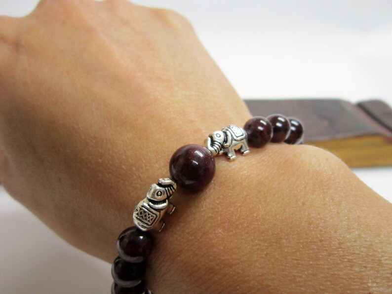 Garnet Elephant Bracelet