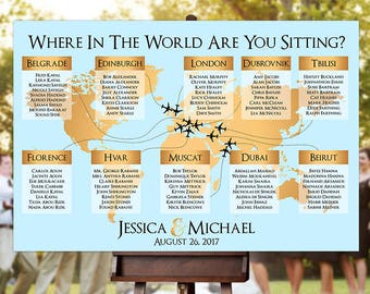 World seating chart etsy wedding seating chart rush service gold world map plane travel theme reception poster gumiabroncs Choice Image