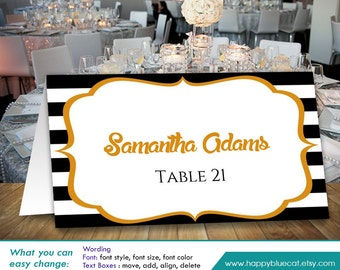 Striped place card etsy diy printable wedding place card template instant download editable text vintage gatsby gold black stripes 35x2 ms word hbc23n maxwellsz