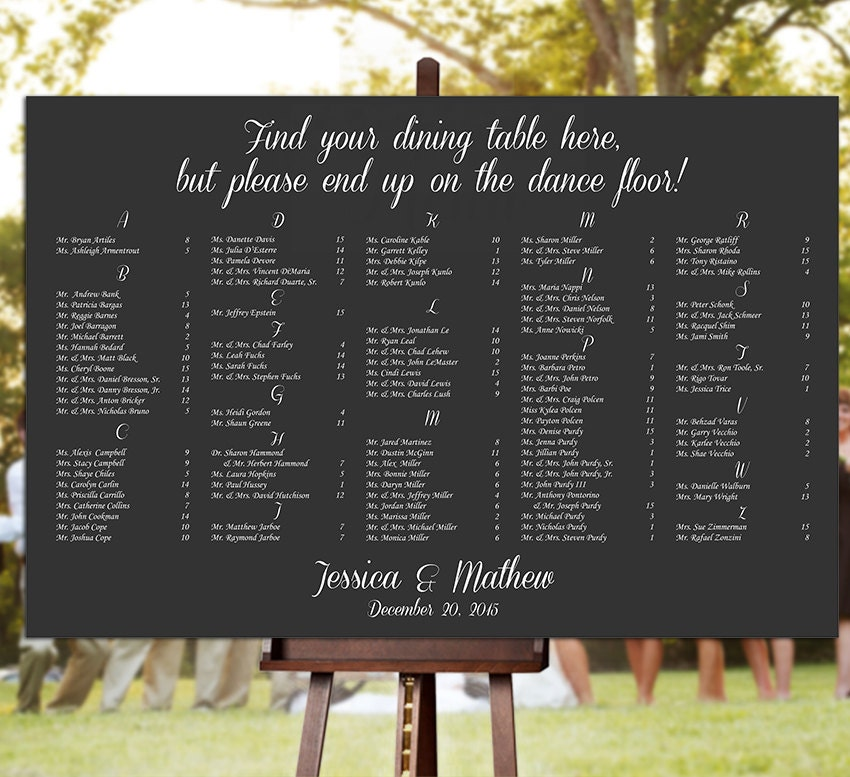Wedding Seating Chart - RUSH SERVICE - find Your Seat dance floor  Chalkboard Theme Reception Poster - Digital Printable File - HbC162