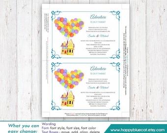 UP! Pixar Inspired DiY Printable Wedding Invitation - Instant Download - EDITABLE TEXT  - Microsoft® Word Format HBC004