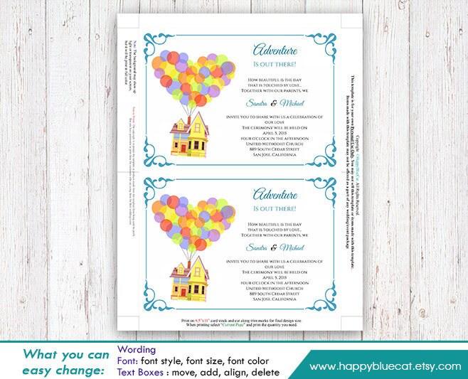 Up Themed Wedding Invitations: UP Pixar Inspired DiY Printable Wedding Invitation Instant