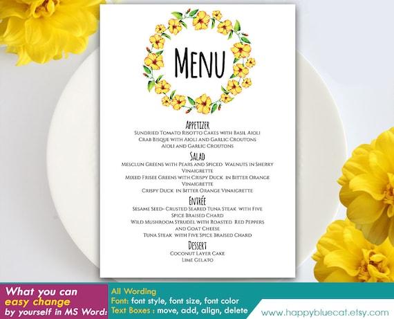 Diy printable wedding menu template instant download solutioingenieria Gallery