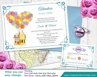 UP! Pixar Inspired DiY Printable Wedding Invitation and Rsvp Template - Instant Download - EDITABLE TEXT  - Microsoft® Word Format HBC004