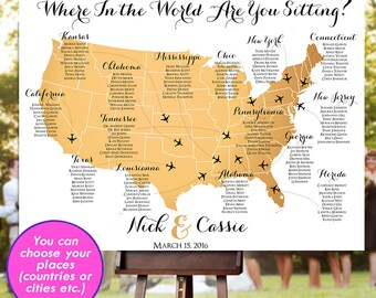 World seating chart etsy wedding seating chart rush service gold usa world map plane travel theme reception poster gumiabroncs Choice Image