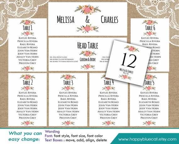 Diy Printable Wedding Seating Chart Template Instant Download Editable Text Rustic Vintage Floral Microsoft Word Format Hbc4n
