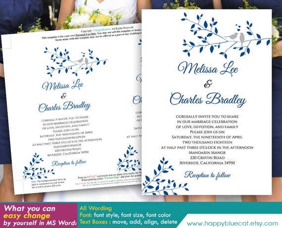 diy printable wedding invitation template instant download etsy
