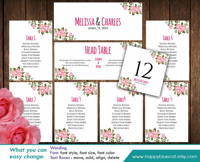 diy printable wedding seating chart template instant download editable text rustic blush flowers microsoft word
