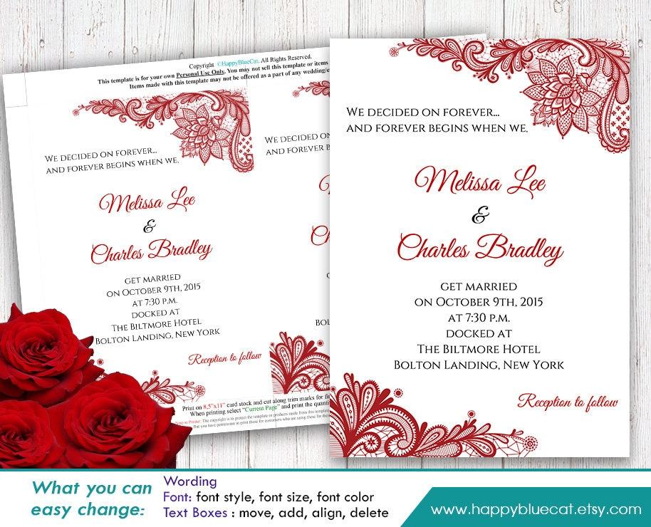 Wedding Invitation Sms Format: DiY Printable Wedding Invitation Template Instant Download