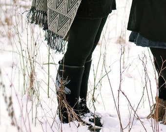 Winter Boots - Black Felted Boots - Women Winter Shoes - Black Knee High Boots - Women Snow Boots - Women Handmade Shoes - Embroidered Boots