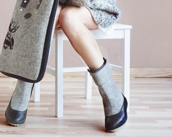 Gray Ankle Boots, Winter Boots Women, Felted Winter Shoes, Snow Boots Women, Valenki Boots, Felt Shoes, Woolen Boots, My Feltboots Shoes