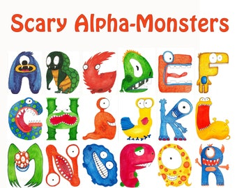 """5"""" X 7"""" Individual Alpha-Monster Letters For Baby Nursery or Kids Room"""