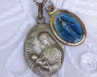 Vintage Necklace, Mary & Baby Jesus, Miraculous Medal Blue Enamel, Sterling Chain, New Mother Jewelry, Religious Medals Catholic Protection