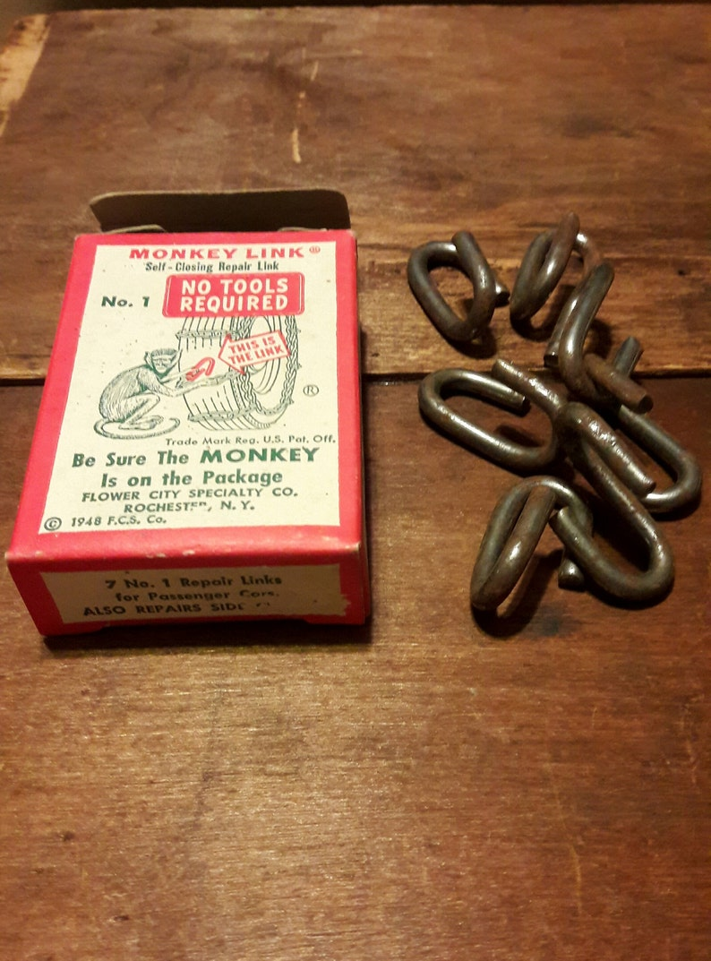 Vintage Auto Parts, MONKEY LINK, Rochester, NY Advertising, Snow Chain  Links, 1940's Tools, Garage Decor, Grease Monkey, Mechanic Gifts