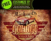 Vintage - Retro Garage Automotive Mechanic Personalized Car Service Repair Shop Sign or ANY BUSINESS Custom Metal Aluminum - Made in USA