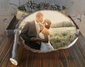 WEDDING Engagement Family Personal ANY Photo on Natural Wood Slice plaque home decoration - Made in USA