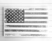 "24x36"" Rustic Farmhouse AMERICAN Flag artwork on Wood Panel with optional Family Military name or text for FREE! - 4th of July"