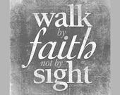 Walk by Faith Not by Sight - Rustic Farmhouse 2 Corinthians Bible Verse Shabby Chic Art on Wood panel  - Home Decor Made in USA