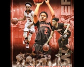 Custom Basketball Sports Poster Collage for ANY SPORT team or athlete - Sportrait Design and Poster Printing School Team Sports