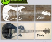 "Custom Guitar Art on 3 Split Wood Panel 14 x 42"" Art Music Studio Room Sound Dampening - Child Room - Personalized Name - Color FREE"