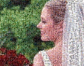 Photo Mosaic created custom from hundreds of photos from Wedding Photos or any personal photos