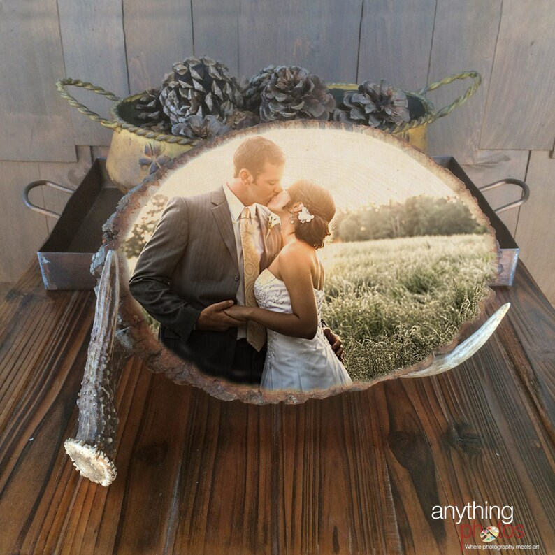 WEDDING Engagement Family Personal ANY Photo on Natural Wood image 0