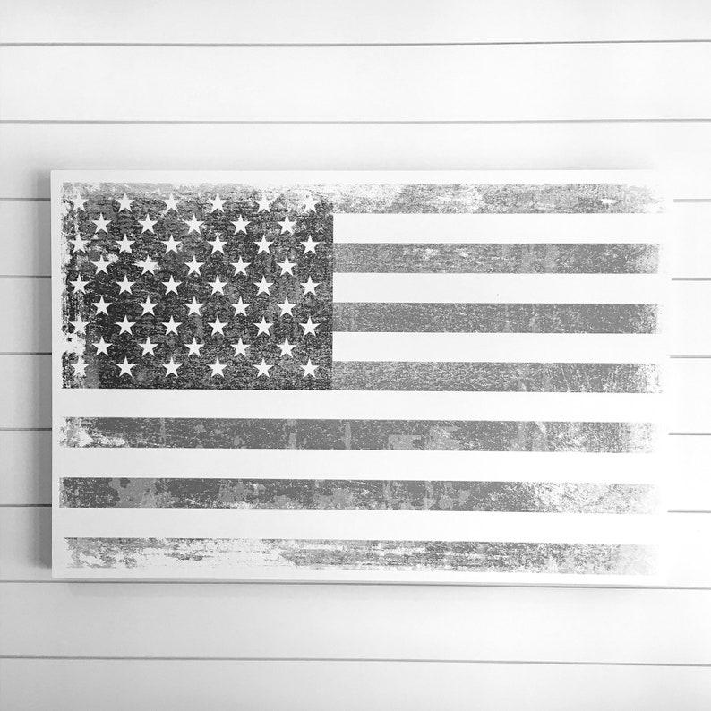 24x36 Rustic Farmhouse AMERICAN Flag artwork on Wood image 0