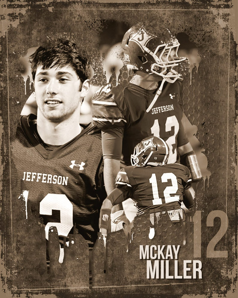 Grunge Football Sports Collage 16x20 Photoshop Template image 0