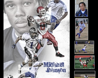 Custom Professional Sports Poster Collage for any sport team or athlete - Sportrait Design and Poster Printing High School Sports