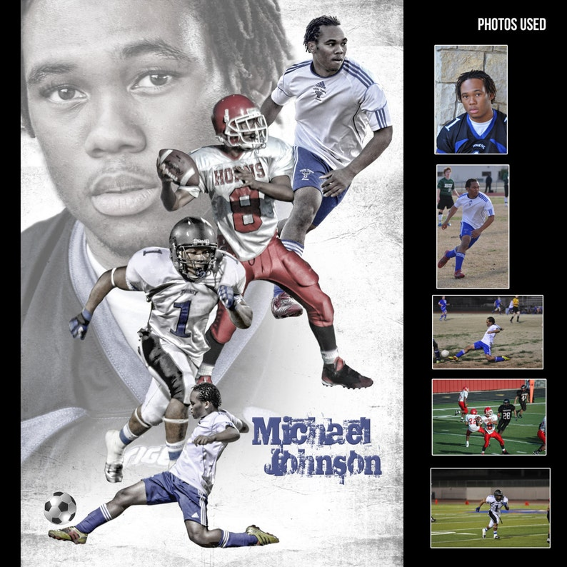 Custom Profesional Sports Poster Collage for any sport team or image 0