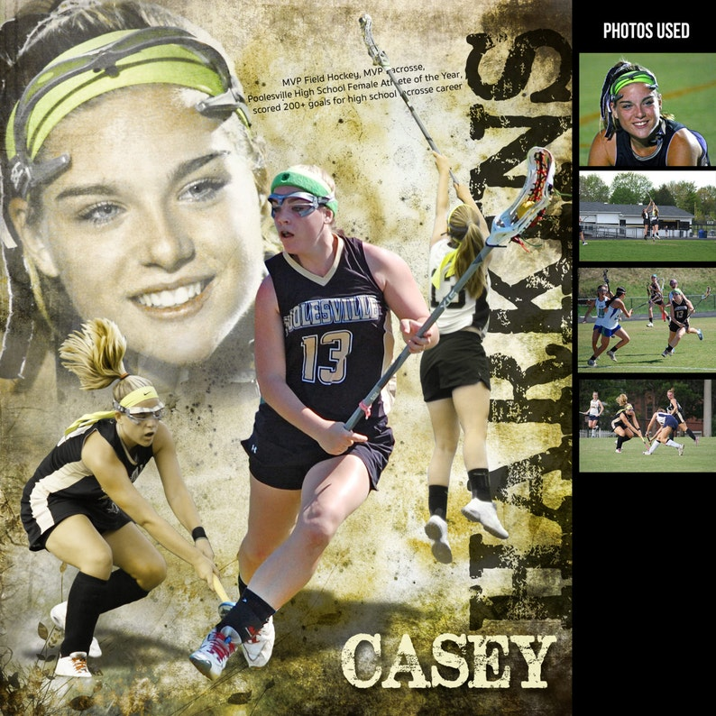 Custom Lacrosse Sports Poster Collage for ANY SPORT team or image 0