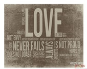 Love is Patient - Love is Kind 1 Corinthians 13 Bible verse Spring artwork on wood 16x20 panel - Personalize with name and date Wedding Sign