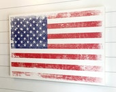 """24x36"""" Distressed AMERICAN Flag artwork on Wood Panel rustic with optional Family Military name or text for FREE! - 4th of July"""
