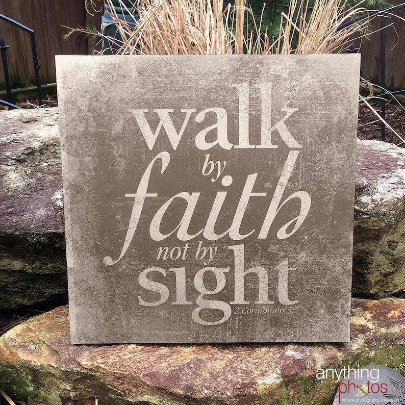 Walk by Faith Not by Sight  2 Corinthians Bible Verse Art on image 0