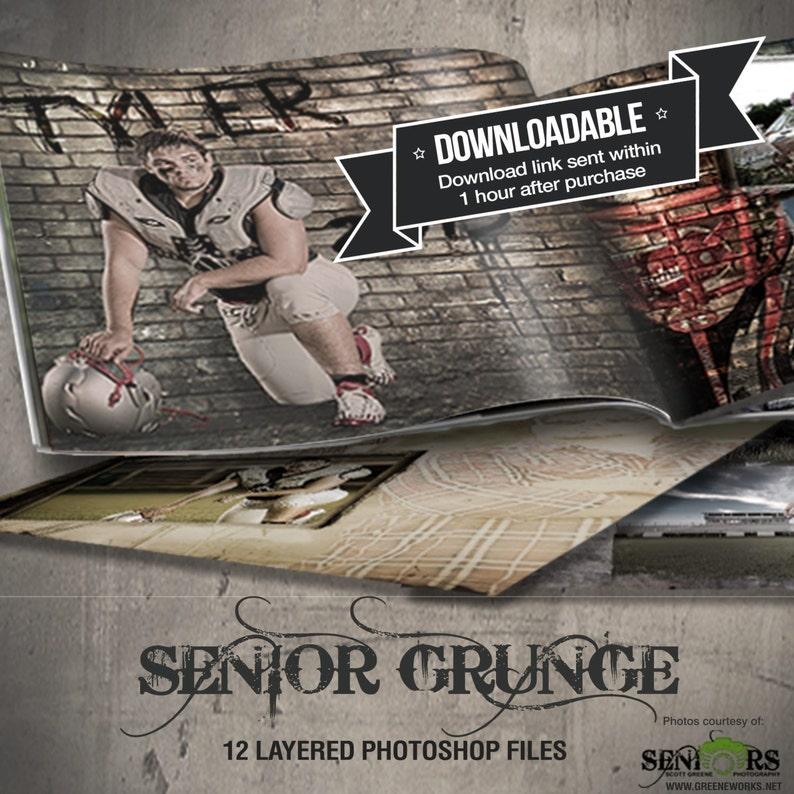 Grunge Senior Photo Book Save the Date Graduation Announcement image 0