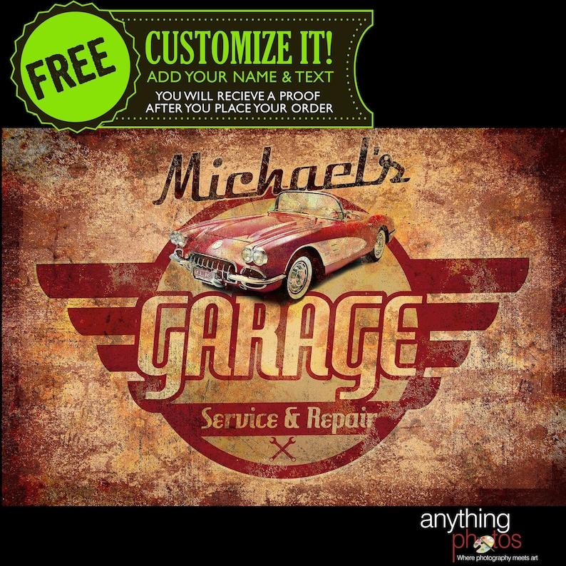 Vintage  Retro Garage Automotive Mechanic Personalized Car image 0