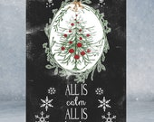 """All Is Calm All Is Bright Holiday Christmas Tree Vintage Looking Wood Sign Art 24x36"""" - Made in USA"""