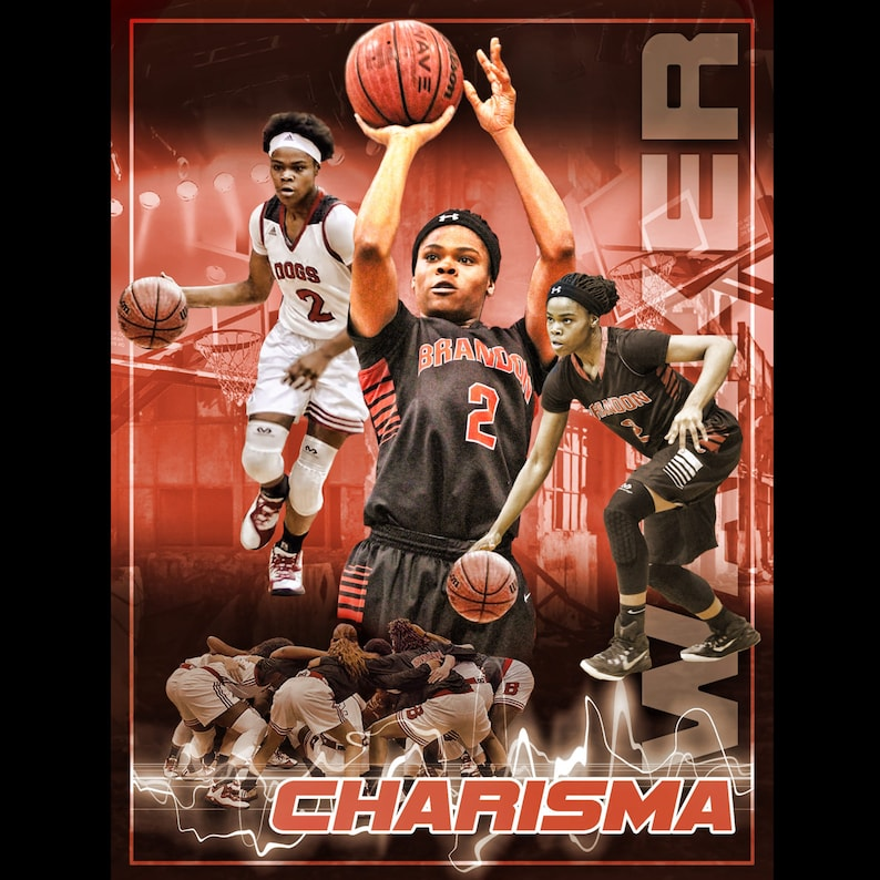 Custom Basketball Sports Poster Collage for ANY SPORT team or image 0